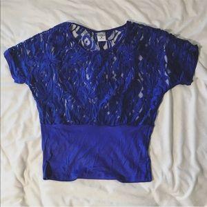 Vanity blue lace short sleeve top size medium